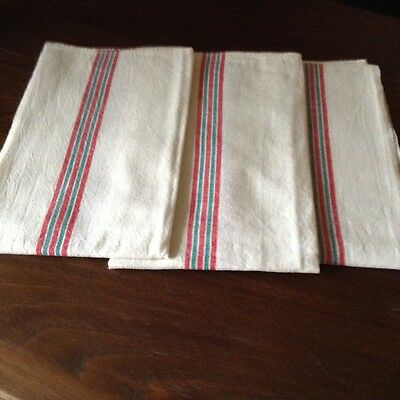 Three Vintage French Cotton/ Linen Kitchen Cloths.
