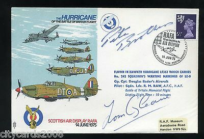 1975 Hurricane RAF Cover signed Peter Brothers & Tom Gleave  Battle of Britain