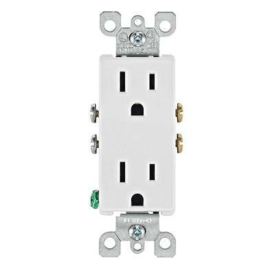 Leviton 15 Amp Electrical Power Duplex Receptacle Wall Outlet White 10 Pack Set