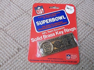 Key Ring Tag Brass Superbowl 1986 XX Ticket Depiction NEW ORLEANS Chicago Bears