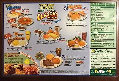 New 2010 Laminated Waffle House Menu Double Sided Place Mat  Collectible Coffee