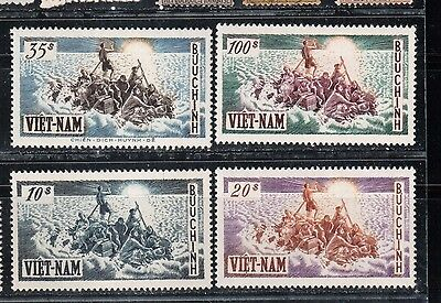 1955 South Vietnam stamps, refugees $10 to $100 MH, SC 32-35
