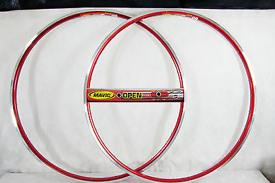 Vintage NOS MAVIC OPEN PRO 700c 32h RED CLINCHER RIM SET Mint! New Old Stock!