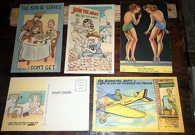 5 vintage WWII COMIC POSTCARDS, one postmarked CAMP SWIFT TEXAS 1943