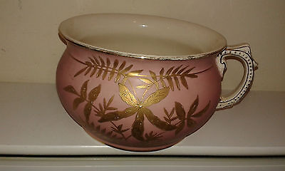 Antique ceramic chamber pot hand painted dusty pink with gilt