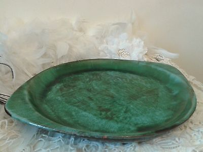 Vintage Blue Mountain Pottery BMP green tray, plate, serving dish, Canada 1970s