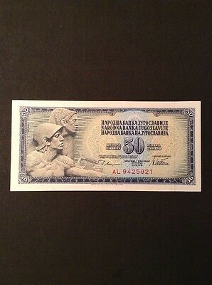 Old Yugoslavia Fifty Dinara Banknote Collectable Vintage Paper Money