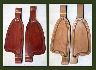 """Medium/ Tan Smooth leather Replacement Fenders for 12"""" Kids Youth Small Saddle"""