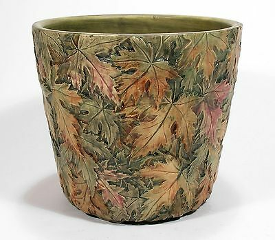 Weller Pottery Flemish jardiniere matte green brown maple leaves arts & crafts