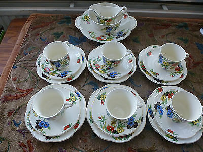 J and G Meakin England ' SOL' Tea Set  bread plate and milk/ sugar 21 pieces