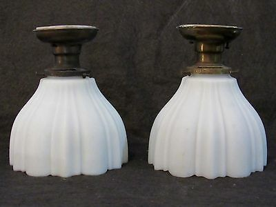 Pair of Antique PAISTE Light Fixtures with Mica Insulators Box Beam Ceiling