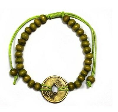 Good Luck Feng Shui Coin Bracelet - Lime Green, Birthday, Valentines Day Gift