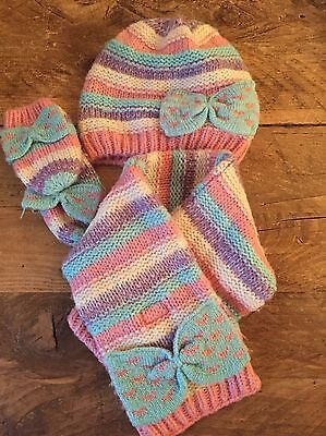 Set Of Woolly Hat, Mittens And Scarf For Girls - Size 6 - 18 Months - M&S