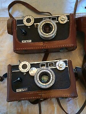 Vintage Argus 35mm camera with cases
