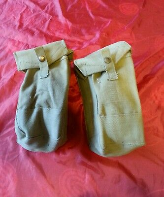 ARMY 1940 37 Pattern Webbing Ammo Pouch x 2  STAMPED ME Co  1939/40 & ARROW