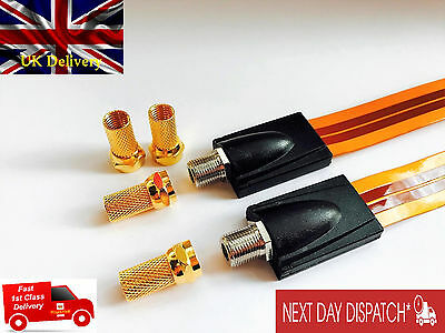 2x SKY TV Flat Coax Cable for Windows & Doors -F Type Sockets + 4x F Gold Plated