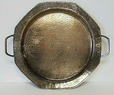 """Roycroft Hand Hammered Silver over Copper Handled Tray 14.75"""" dia."""