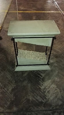 Faux Stone Glass and Iron cast Table
