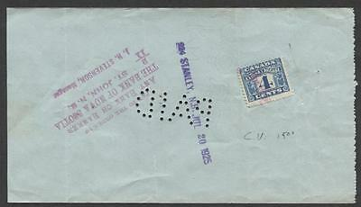 Canada #FX39 4c Blue 1915 Two Leaf Excise on 1925 Bank of Nova Scotia Chq XF-85