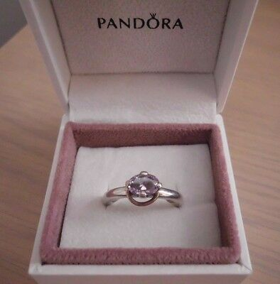 Lovely *Pandora* Sterling Silver Ring. Mauve Stone,Gold Wreath & Cubic Zirconia.