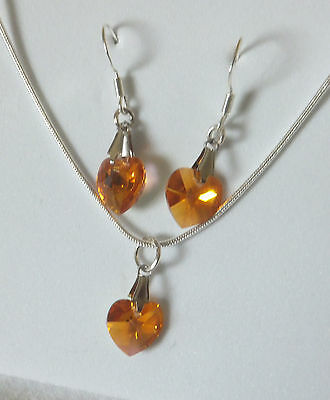 TOPAZ AB CRYSTAL 10mm HEART pendant and earrings set 18 inch 925 silver chain