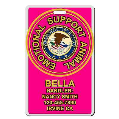Service Dog emotional support animal PINK ADA Badge Dog custom info dog cat ESA