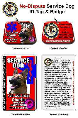 Service Dog ID Tag and Badge combo custom photo id for pet RED