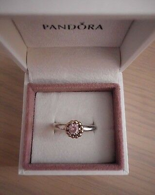 Lovely *Pandora* Sterling Silver Ring. Pink Stone and Gold Bubble Wreath.