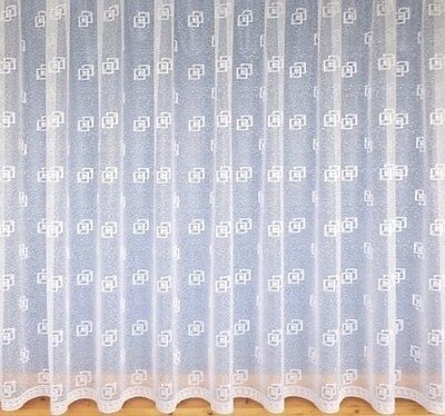 Extreme White Contemporary Modern Squares Short Drops Net Curtain Free Postage