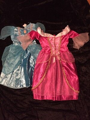 Lot of 2 Girls 4-6x Pretend Play Dress Up  Princess  Queen Costume Blue Pink