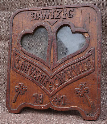 WW2 Wood 1941 Souvenir Memorial Captivity DANTZIG French Brittany GDANSK Germany