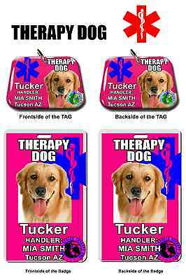 Service Dog ID Tag and Badge THERAPY DOG combo custom photo id for pet pink