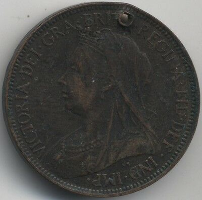 1901 Victoria Halfpenny Holed***Collectors***(H1)