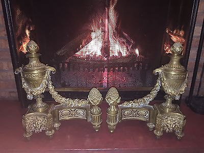 Huge Very Old Antique Gilt Metal Ornate Chenets Andirons Hearth Ornaments