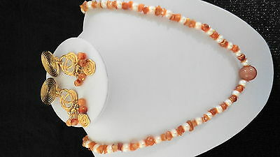 REDUCED! Lovely Natural Apricot Agate and Potato Pearl Necklace & Earrings Set