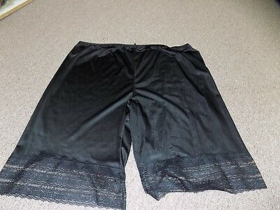 """Vintage Black Nylon and Lace MMI Long Pettipants Size 4X 28""""  From Waist to Hem"""