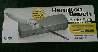 New In Box Hamilton Beach Electric Knife with storage case and fork 74250R