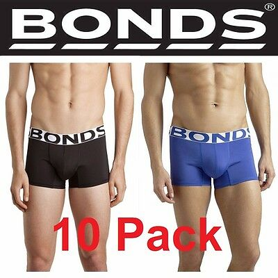MENS BONDS 10 PACK x ACTIVE QUICK DRY TRUNK TRUNKS BLACK BLUE UNDERWEAR S M L XL