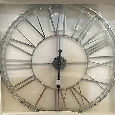 X Large Skeleton Cut Out Silver Metal Roman Numeral Wall Clock NEW Kitchen 70cm