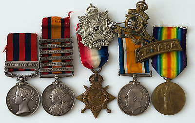 WW1 CEF CANADIAN 5 MEDAL GROUP BOER WAR 6-Clasp QSA & INDIA SERVICE to C.F.A