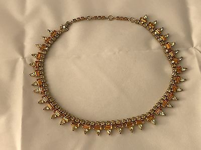 Sherman Necklace Topaz Yellow Sparkly Pretty Signed
