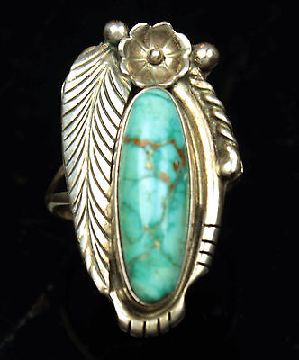 Vintage Sterling Silver - NAVAJO Flower Turquoise 5.6g - Ring (7.5)