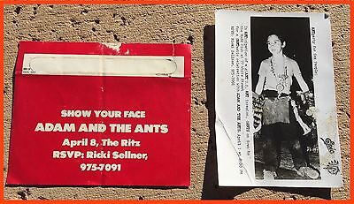 Adam And The Ants Very Rare First Ever U.s. Appearance Invite And Promo Piece
