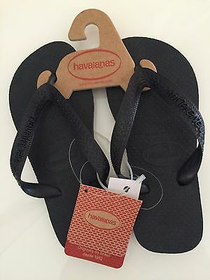 HAVAIANAS Genuine Black Rubber Thongs Shoes Size 29/30 NEW WITH TAGS Boys Girls