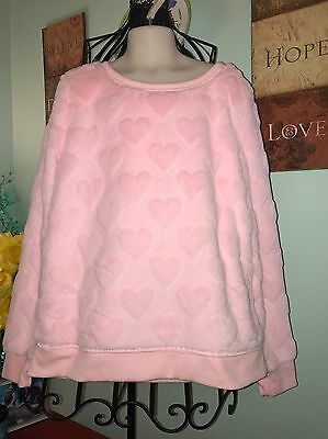 Girl's The Place Light Pink Super Soft Pullover. Heart Patterned. Size L 10-12.