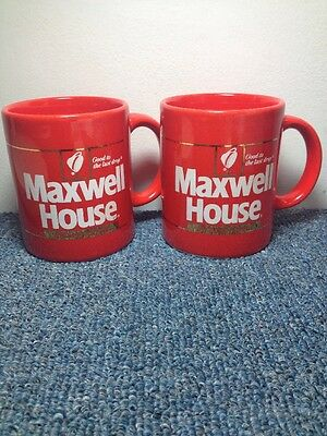 Maxwell House Set 1 Instant Coffee mugs Vintage red ceramic cup Japan