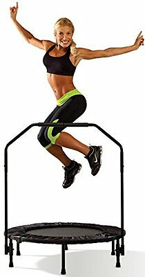 Mini Trampoline 40 Inch Handrail Cardio Fitness Workout Exercise Home Gym Yoga