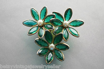 Vintage Fur Pin of Flowers with Green Glass Petals