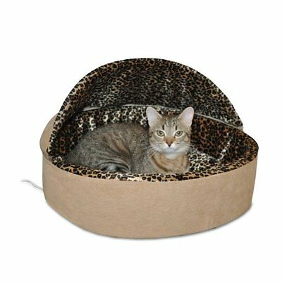 K&H Manufacturing Thermo-Kitty Bed Dlx Hooded Large Tan Leopard 20-Inch 4 Watts