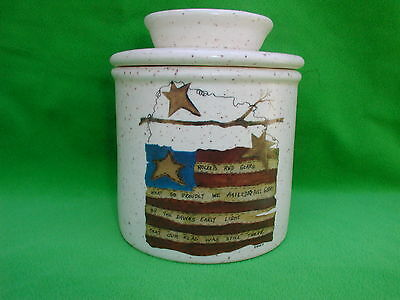 Colonial Patriotic  Flag  Ceramic  Butter  Crock   Made  In  Usa  Free Shipping